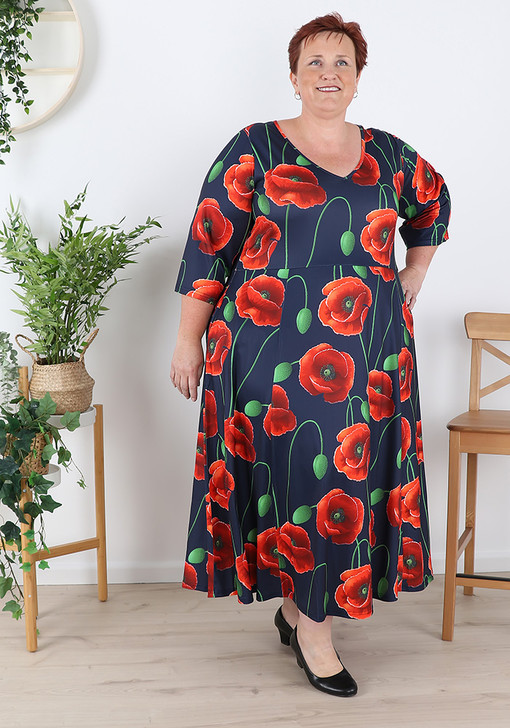 Plus Size Red Poppy Stretch Dress With Sleeves