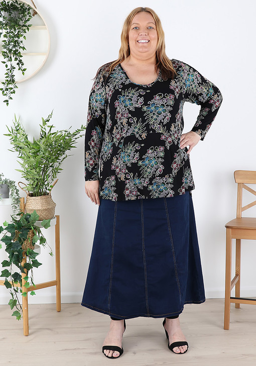 Plus Size Pull On Long Length Blue Denim Skirt