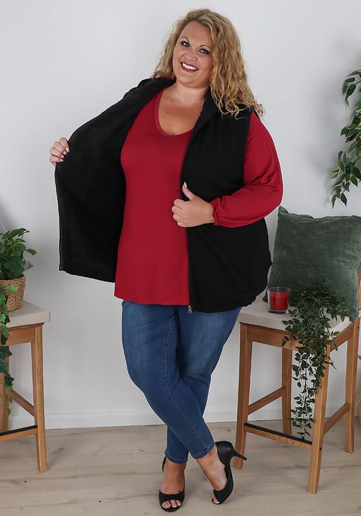 Plus Size Black Sherpa Lined Cotton Knit Vest