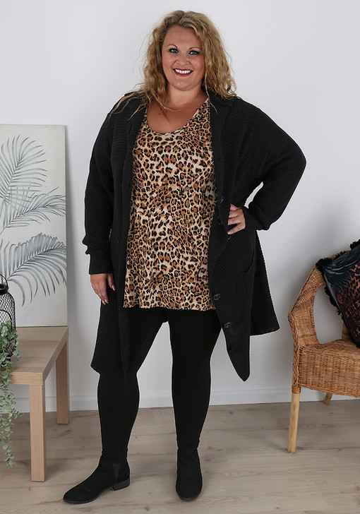 Plus Size Black Button Front Cardigan With Hood