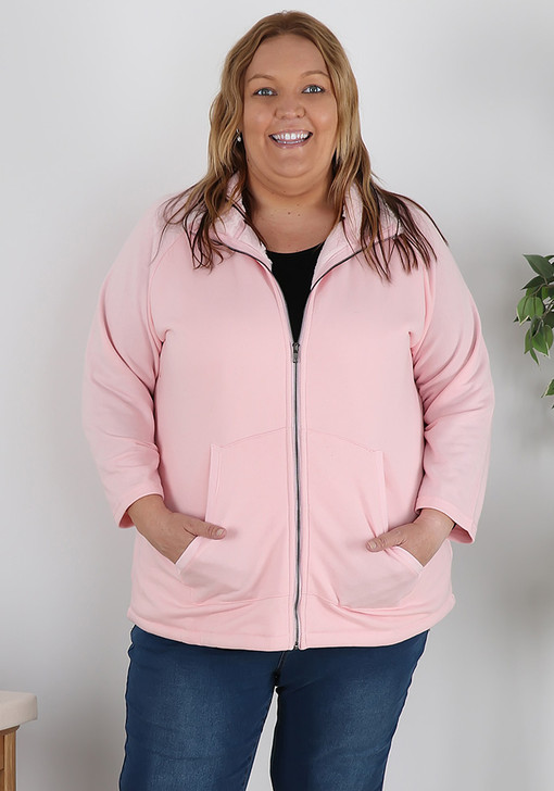 Zip Front Pink Jacket With Faux Fur