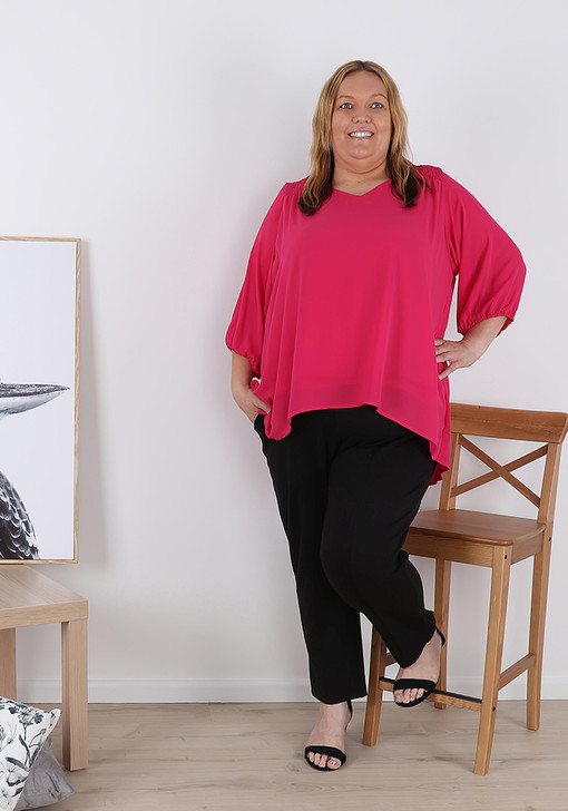 Plus Size Hot Pink Crepe Elasticated Sleeve Top