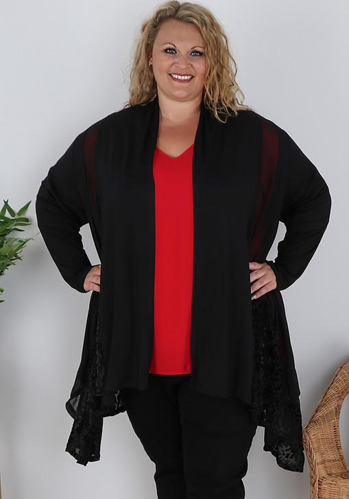Plus Size Black Animal Flocked Velvet Swing Jacket
