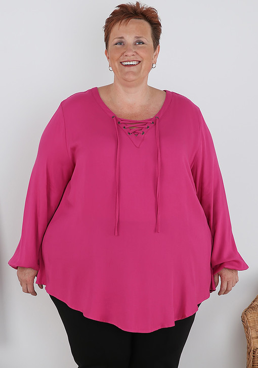 Plus Size Raspberry Lace Up Long Sleeve Top