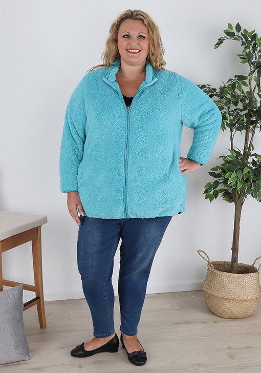 Plus Size Blue Fluffy Jacket With Zip