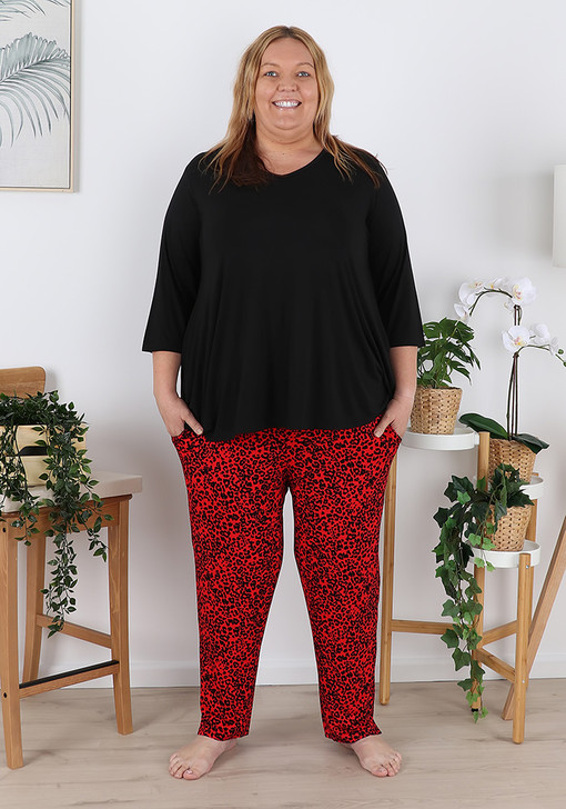Plus Size Red Leopard Rayon Stretch Pjs With Pockets
