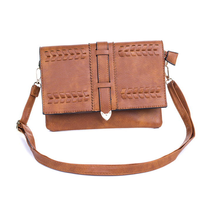 Caramel Braid Detail with Buckle Bag