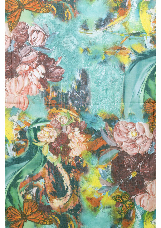 Butterfly Floral Cotton Viscose Scarf