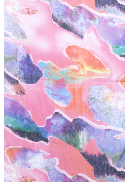Pink Abstract Print Cotton Viscose Scarf