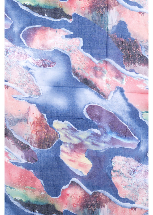 Blue Abstract Print Cotton Viscose Scarf