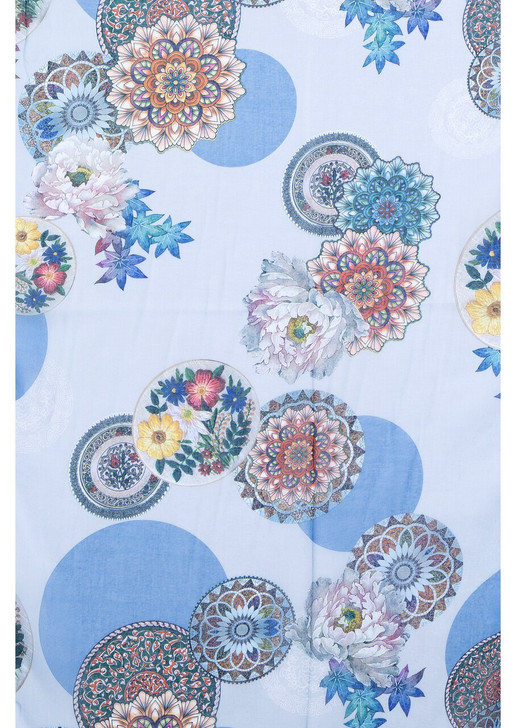 Blue Flower Circles Cotton Viscose Scarf