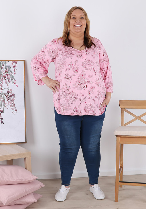 Plus Size Pink Paisley Elbow Sleeve Top