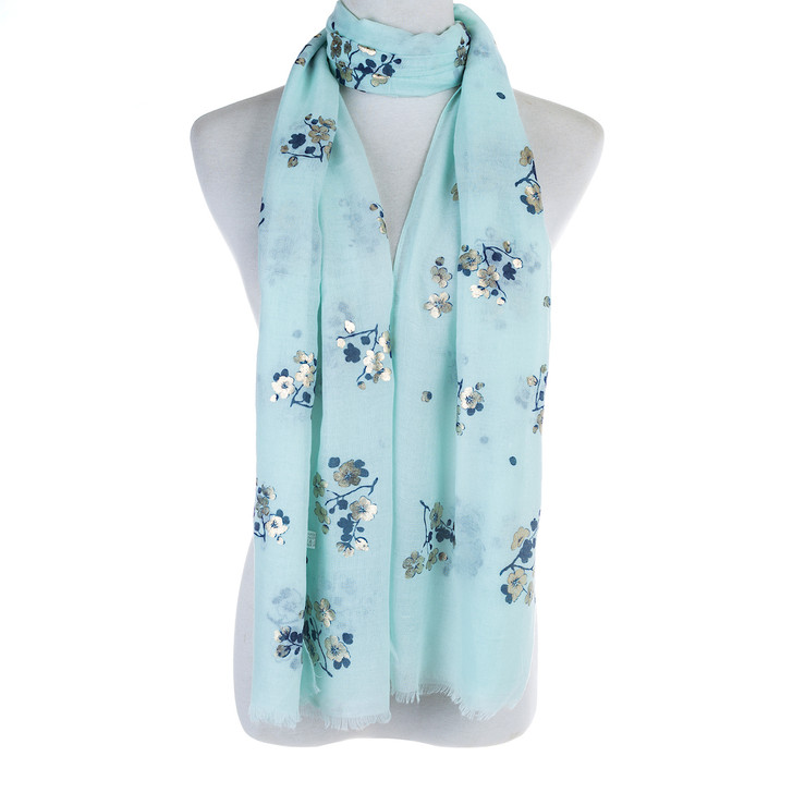 Plus Size  Teal Gold Blossom Polyester Cotton Scarf