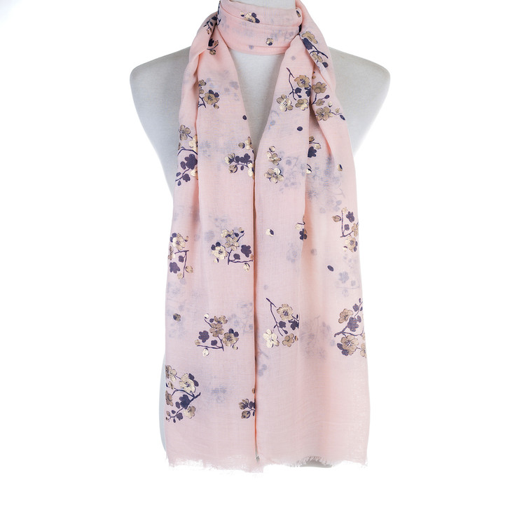 Plus Size Pink Gold Blossom Polyester Cotton Scarf