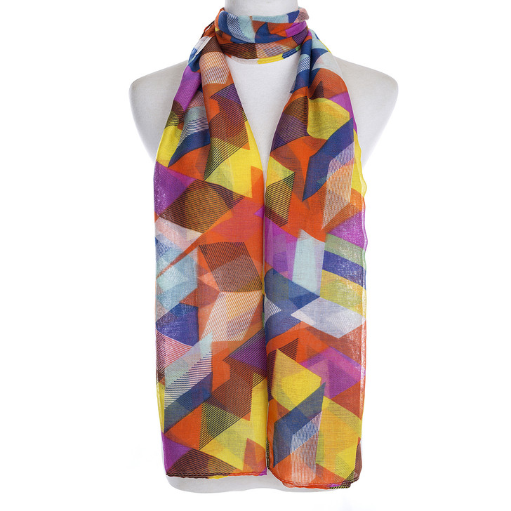 Plus Size Multi Colour Abstract Print Viscose Scarf