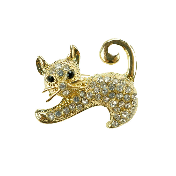 Plus Size Gold Cat Brooch