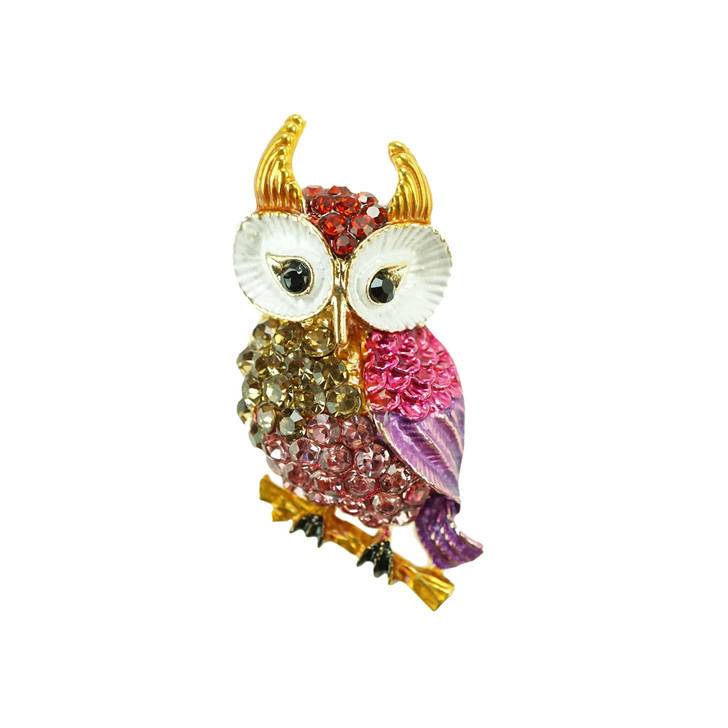 Plus Size Pink Owl Brooch