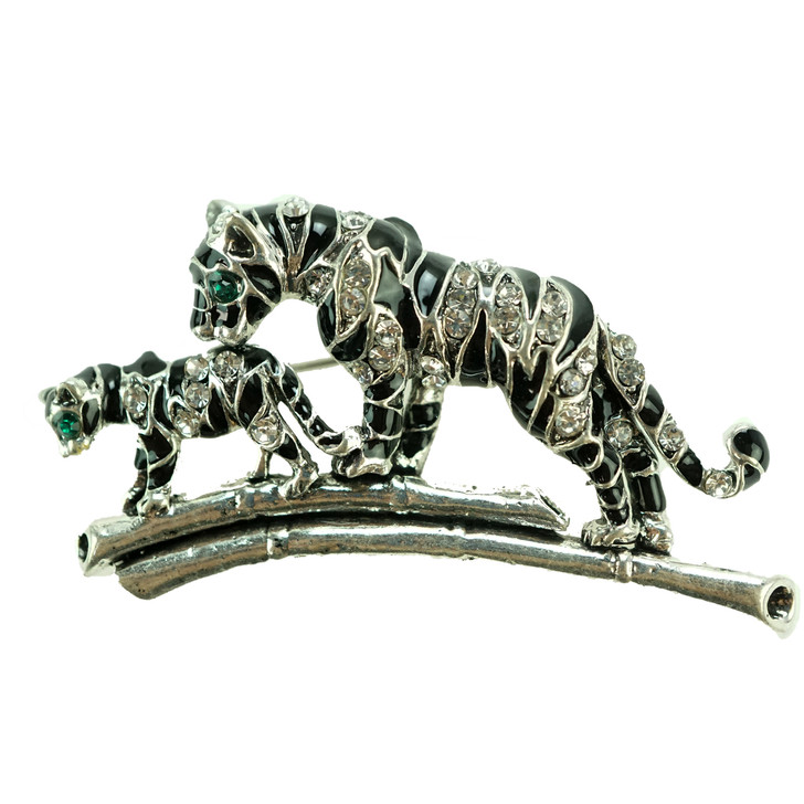 Plus Size Silver Tiger And Cub Brooch