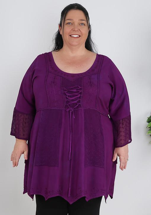 Plus Size Purple Lace Up Embroidery Hanky Hem top