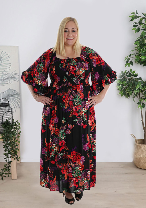 Elbow Sleeve Pops Of Colour Shirred Dress