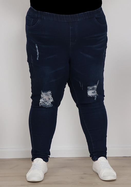 Plus Size Indigo Blue Rip Jeans