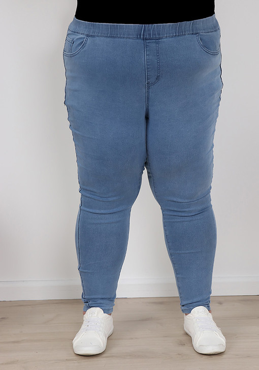Plus Size Light Blue Pull On Jeans