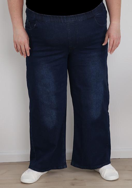 plus size dark blue wide leg jeans