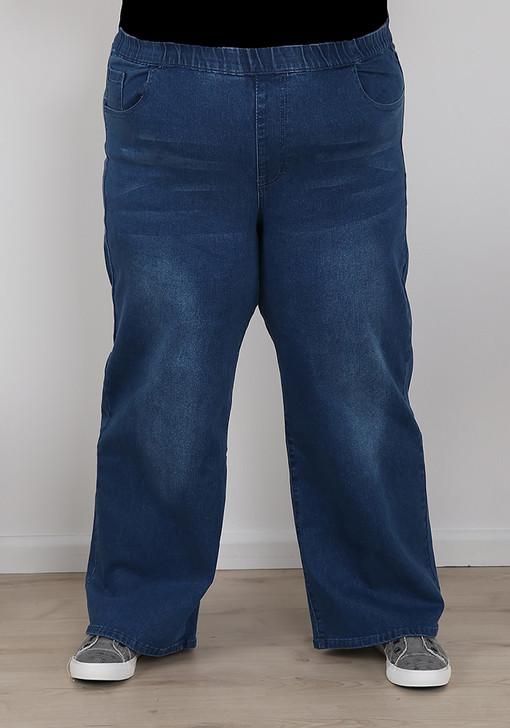 plus size mid blue wide leg jeans
