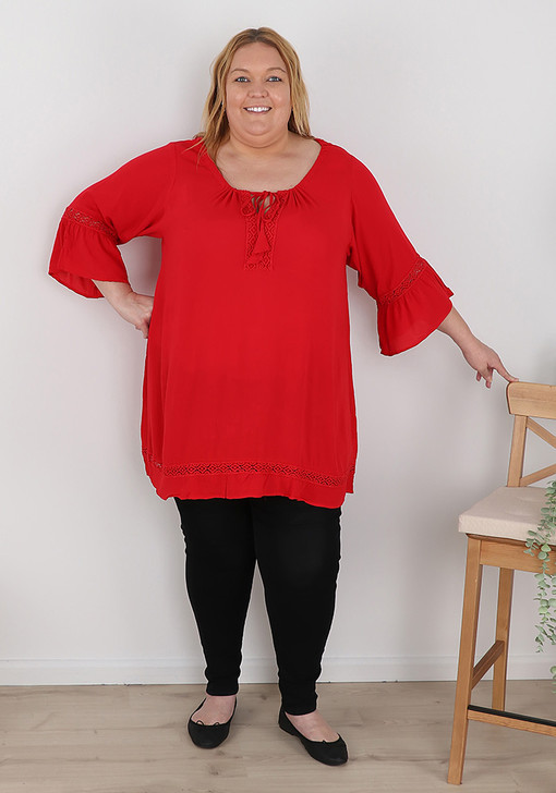 plus size red flare sleeve top