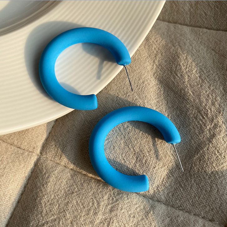 Blue Acrylic Hoop Earrings