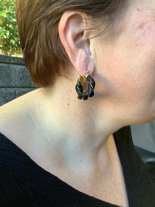 Black Twisted Leather Hoop Earrings