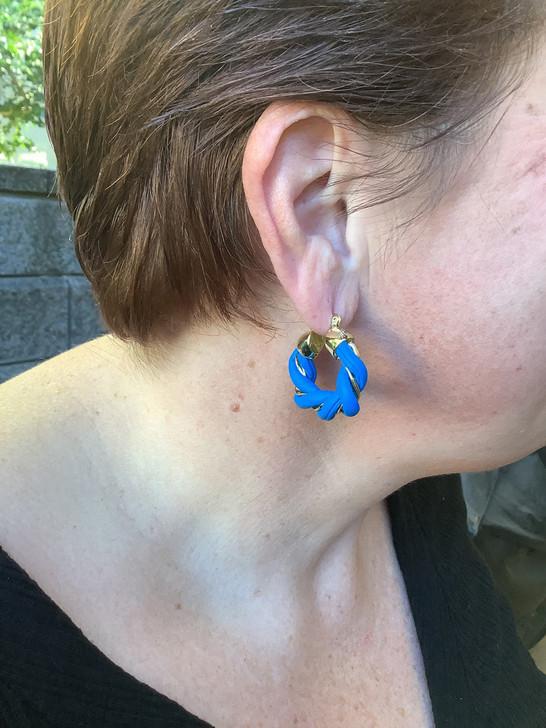 Blue Twisted Leather Hoop Earrings