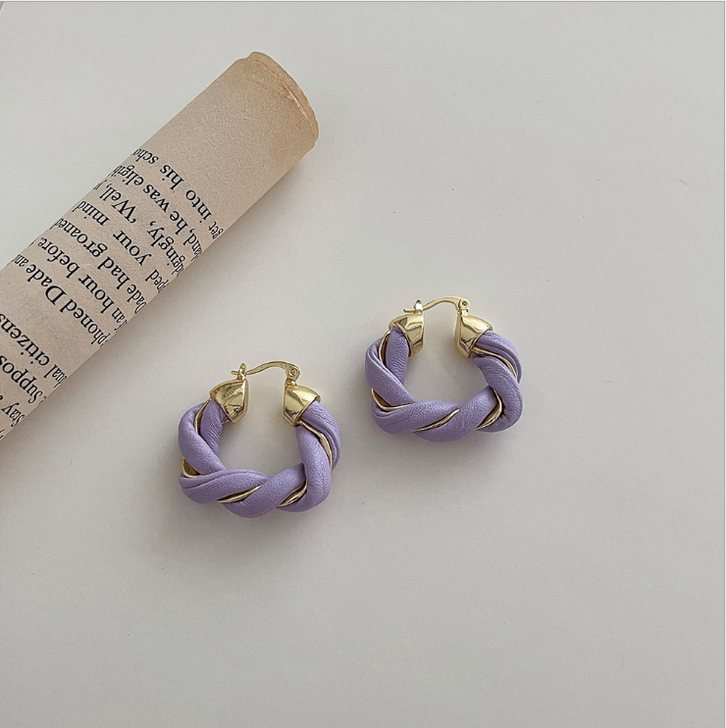 Lilac Twisted leather Hoop Earrings
