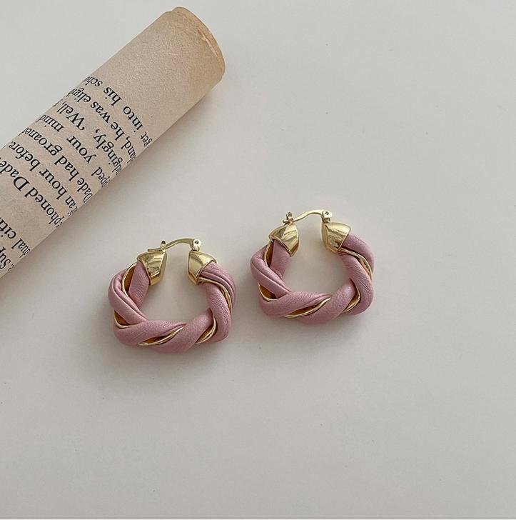 Pink Twisted leather Hoop Earrings