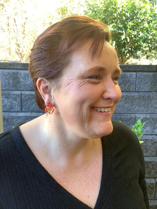 Red Floral Resin Stud Earrings