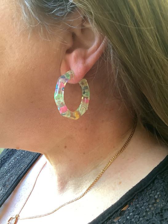 Multi Colour Resin Hoop Earrings
