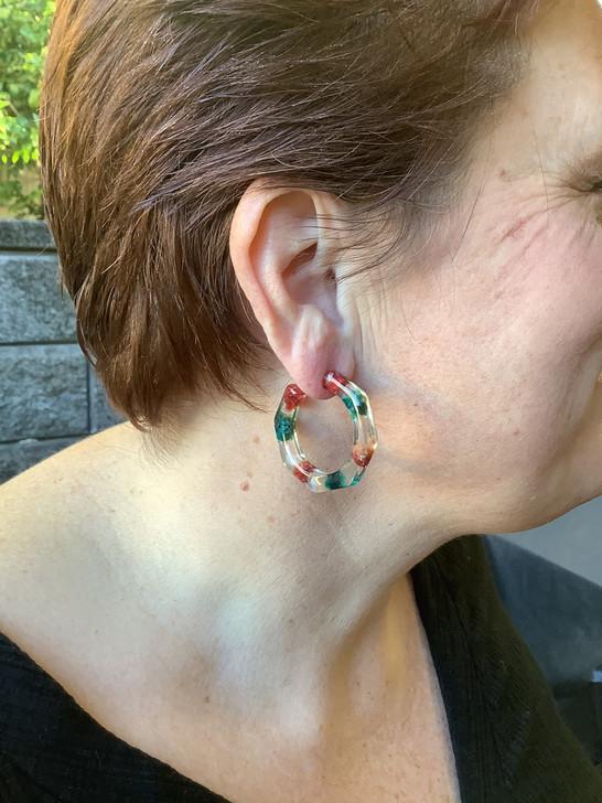 Green and Red Resin Hoop Earrings