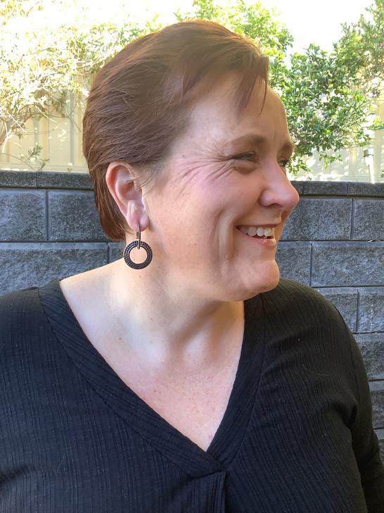 Black Rhinestone Drop Hoop Earrings