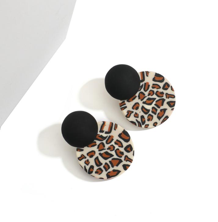 Leopard Clay Stud Earrings
