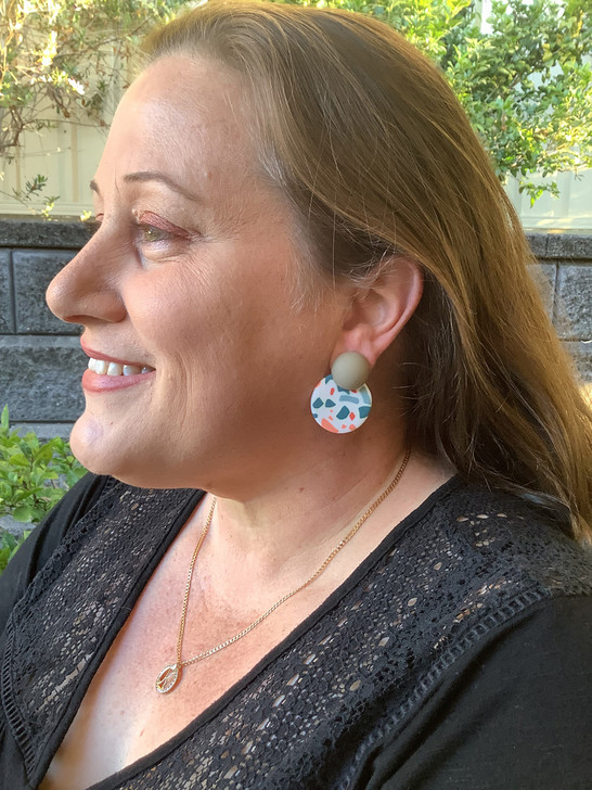 Grey Patterned Clay Stud Earrings