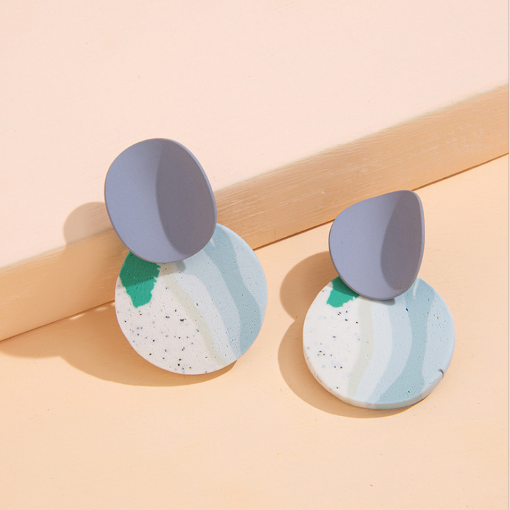 Blue Patterned Clay Curved Stud Earrings