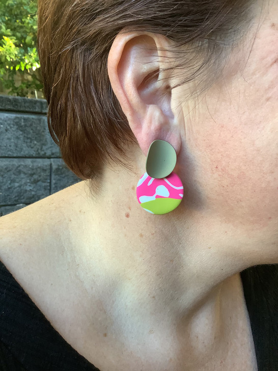 Khaki Patterned Clay Curved Stud Earrings