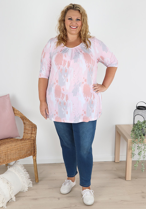 Plus Size Pastel Abstract Pleat Top