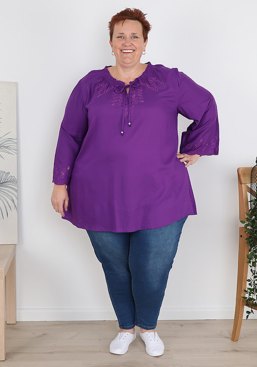 Plus Size Purple Flare Sleeve Frill Top