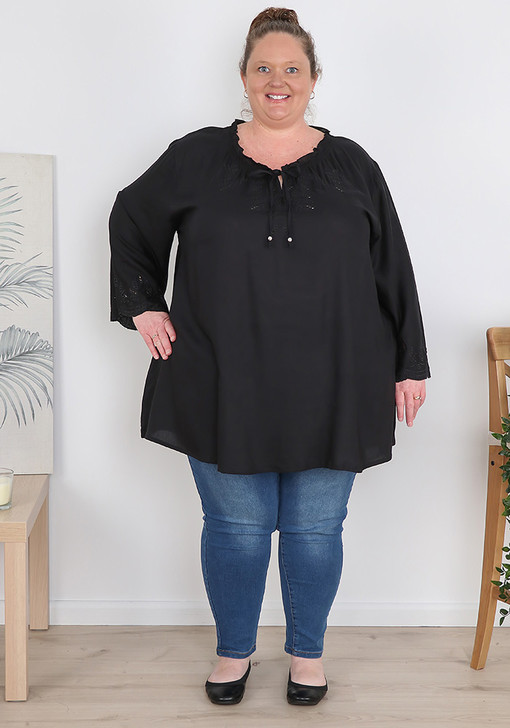 Plus Size Black Flare Sleeve Frill Top