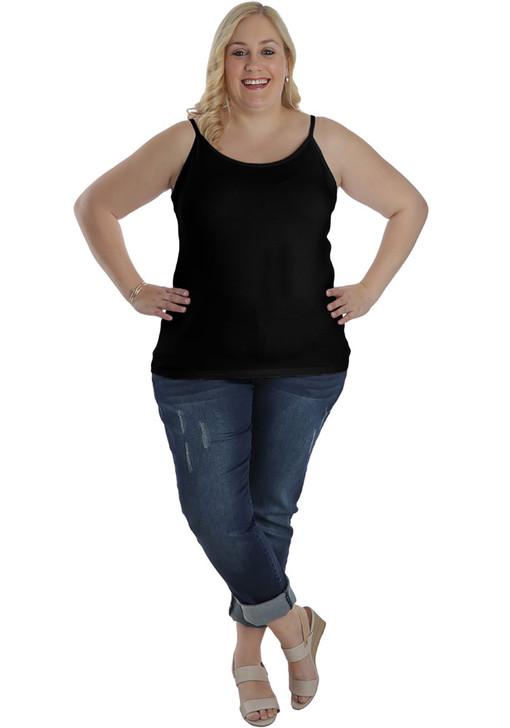 Plus Size Black Viscose Camisole