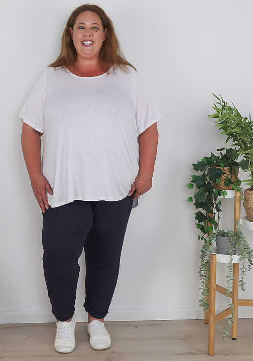 Plus Size Navy Jersey Stretch Crops