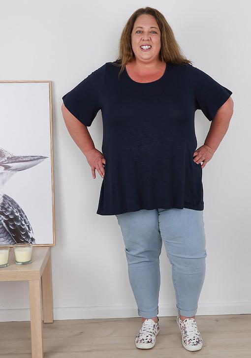 Plus Size Pull On Light Blue Denim Boyfriend Jeans