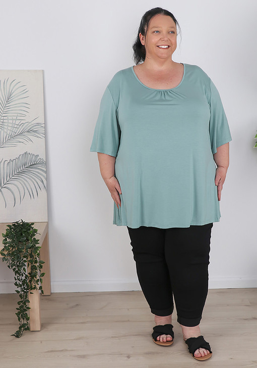 Plus Size Bamboo Sage Short Sleeve Top