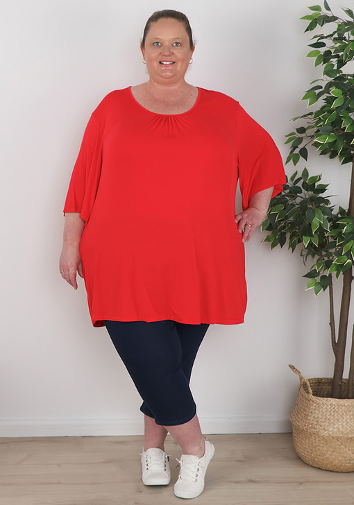 Plus Size Bamboo Red Short Sleeve Top